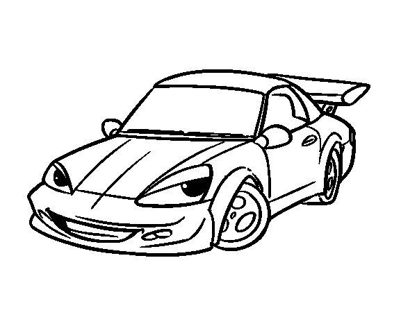 Disegno di Auto sportiva con alettone da Colorare