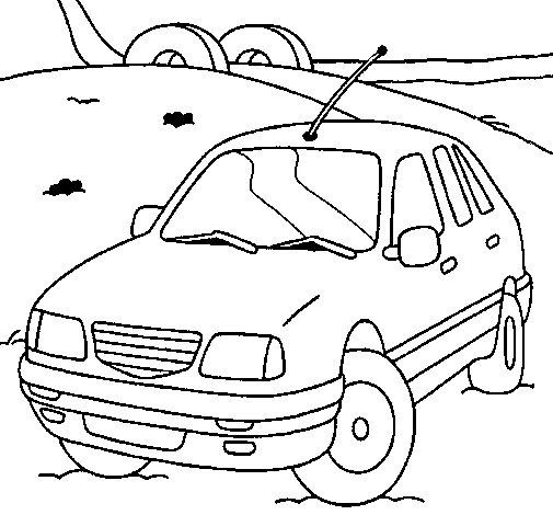 Disegno Di Auto Sulla Strada Da Colorare
