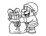 Disegno di Babbo Natale che dà i regali da colorare