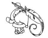 Disegno di Babbo Natale scrittura da colorare