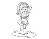 Disegno di Bambina con gattino da colorare