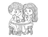 Disegno di Bambini che bevono caffè da colorare