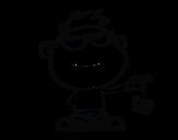 Disegno di Bambino con ragno da colorare