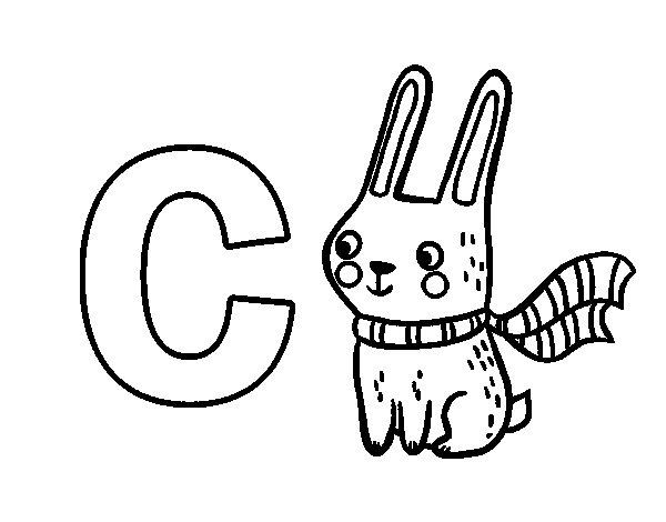 Disegno di C di Coniglio da Colorare
