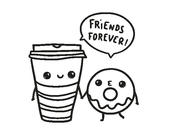 Disegno di Caffè e ciambella da Colorare