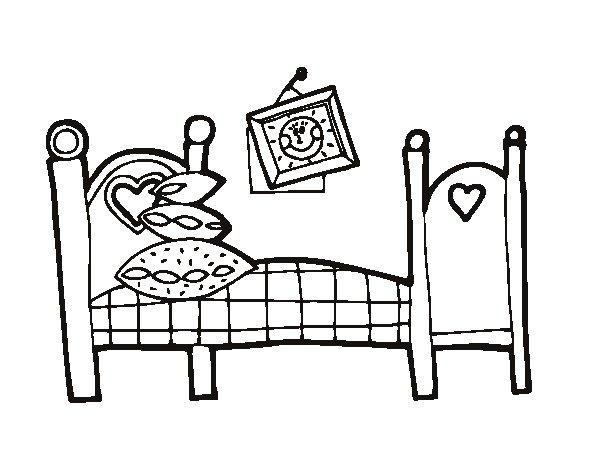 disegno di camera da letto da colorare