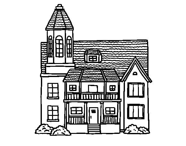 Disegno di casa a due piani con torre da colorare for Piani casa americana