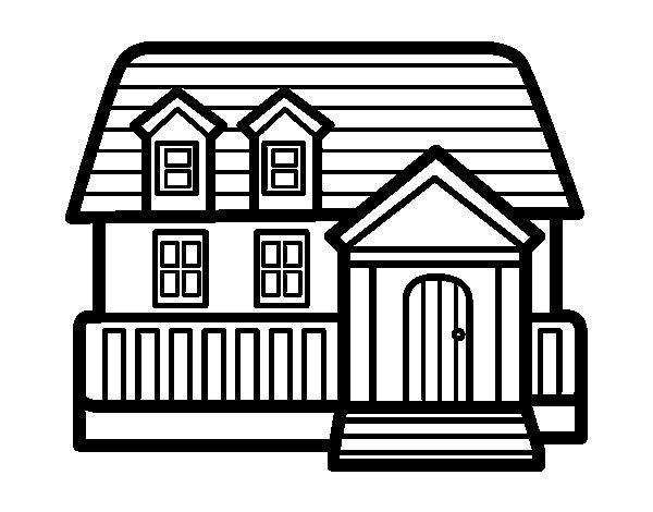 Disegno di casa americana da colorare for Casa disegno