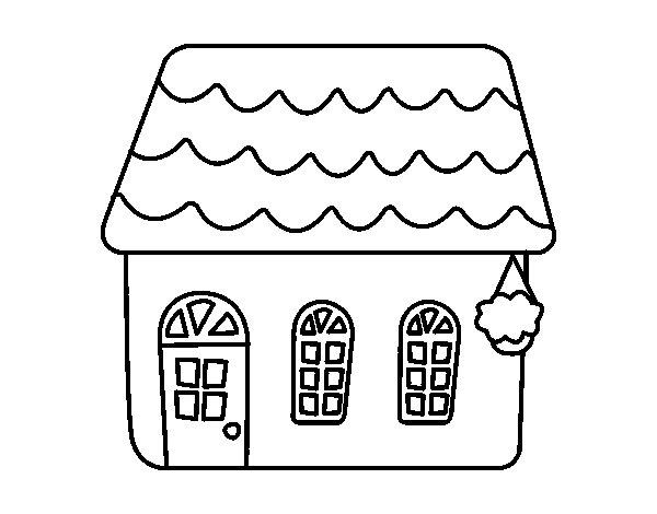 Disegno di casa di una favola da colorare for Disegni di case di tronchi