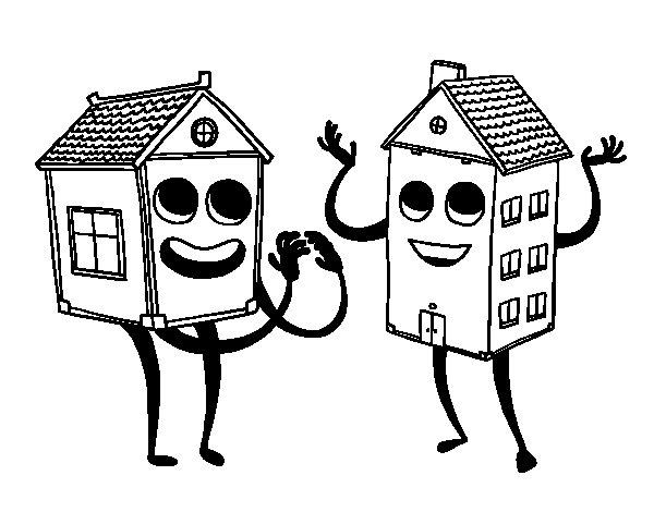 Disegno di Case vicine da Colorare