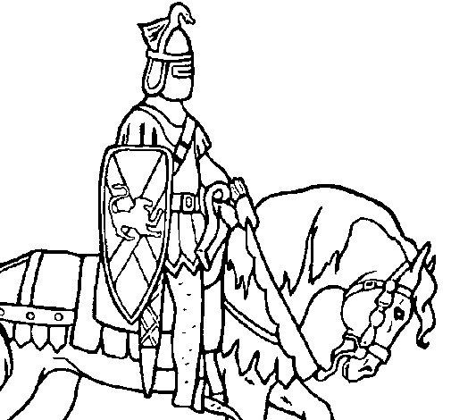 Disegno di Cavaliere a cavallo da Colorare