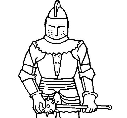 Disegno di Cavaliere con una mazza  da Colorare