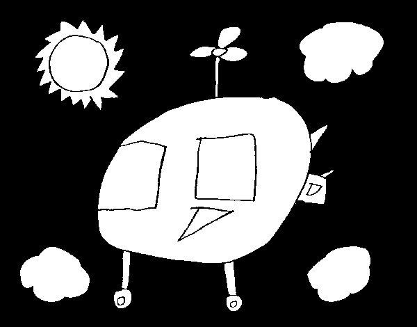 Disegno di Cielo con elicottero da Colorare