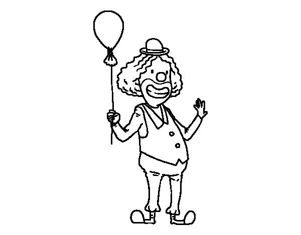 Disegno di  Clown e  palloncino da Colorare