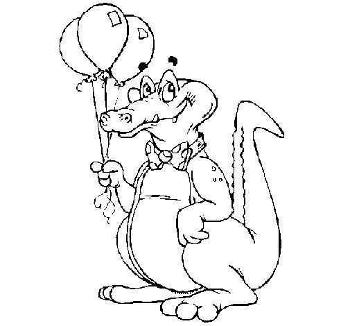 Disegno di coccodrillo con dei palloncini da colorare for Coccodrillo da colorare