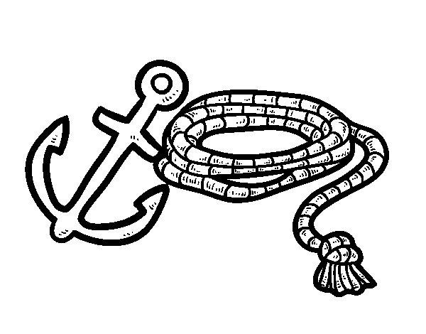 Disegno di Corda e ancoraggio da Colorare
