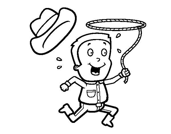 Disegno di Cow-boy con corda da Colorare