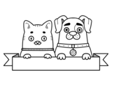 Disegno di Cucciolo e gattino da colorare