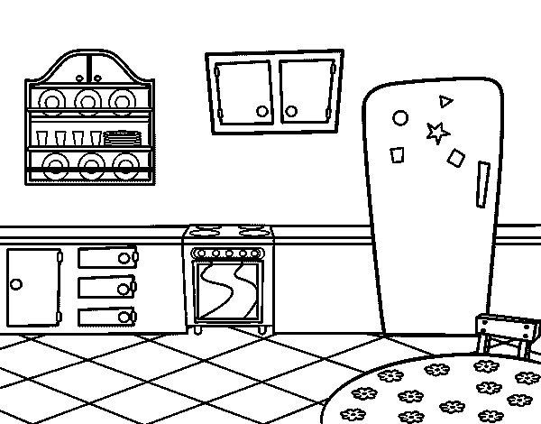 Disegno di Cucina tradizionale da Colorare - Acolore.com