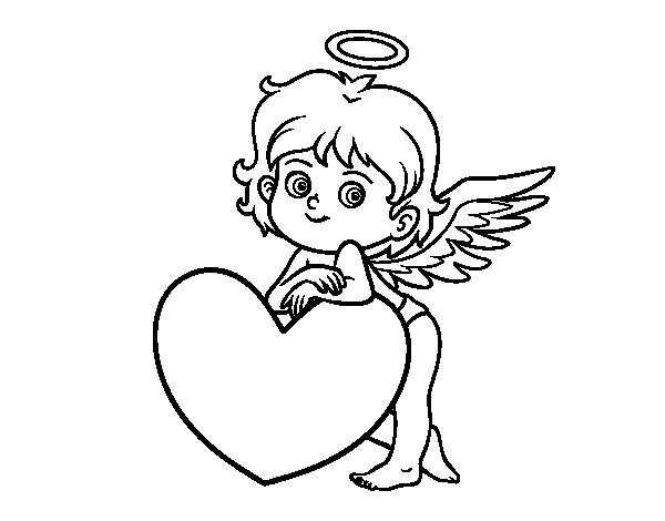 Disegno di Cupido e un cuore da Colorare