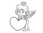 Dibujo de Cupido e un cuore
