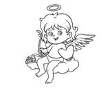 Disegno di Cupido su una nuvola da colorare