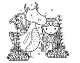 Disegno di Drago e principessa da colorare