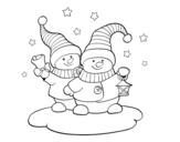 Disegno di Due dambole natalizie da colorare