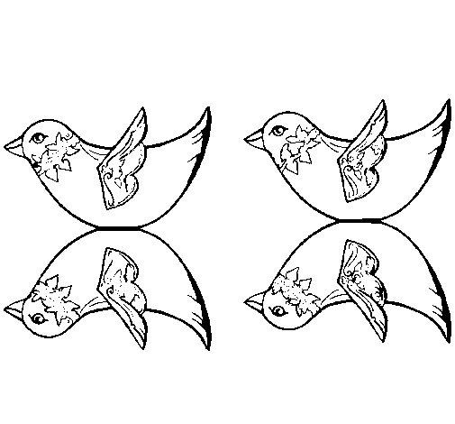 Disegno di due uccelli da colorare - Semplici disegni di uccelli ...