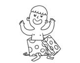Disegno di Enfant jouant avec une boîte-cadeau da colorare