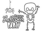 Disegno di Felice partito di Halloween da colorare