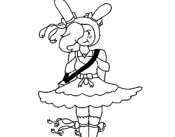 Disegno di Fiona con il vestito da Colorare