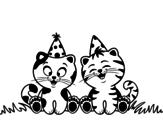 Disegno di Gatti di compleanno da colorare