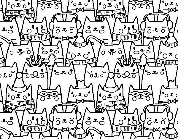 Disegno di gatti di natale da colorare for Immagini di gatti da colorare