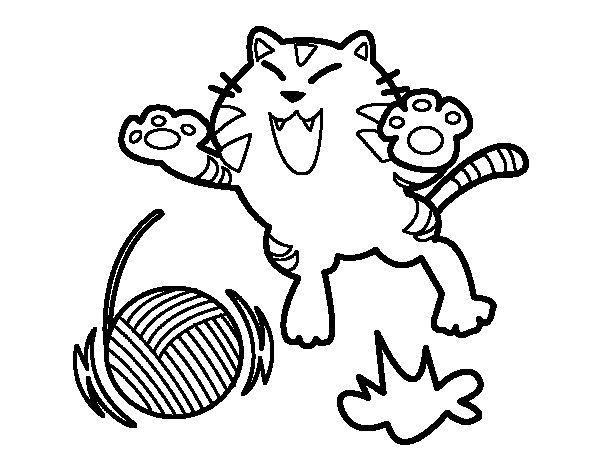 Disegno di gatto giocoso da colorare - Gatto disegno modello di gatto ...