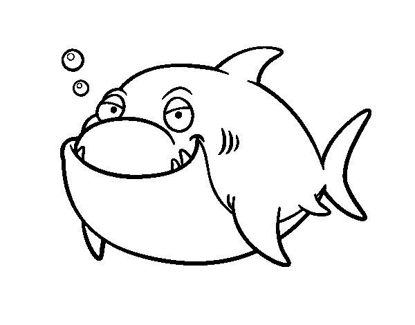 disegno di grande squalo bianco da colorare