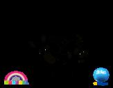 Disegno di Gumball e amici felice da colorare