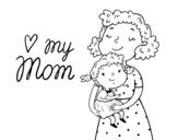 Disegno di I love my mom da colorare