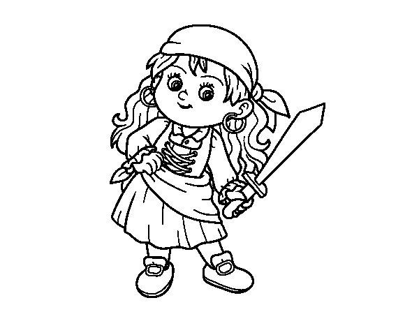 Disegno di La ragazza pirata da Colorare