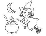 Disegno di La strega volante e la sua pozione da colorare