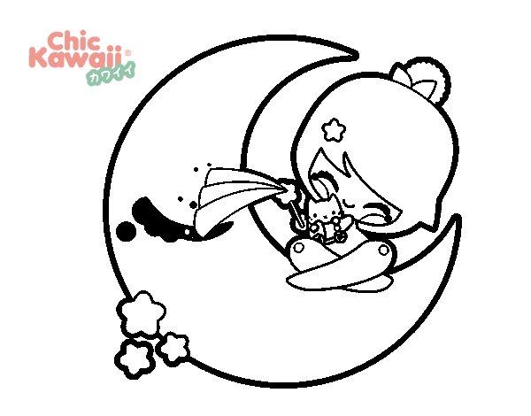Disegno di Luna Kawaii da Colorare