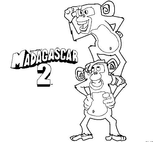Disegno di Madagascar 2 Manson & Phil da Colorare