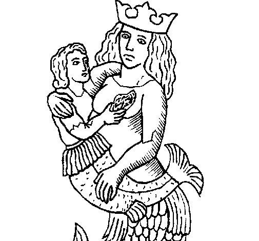Disegno di mamma sirena da colorare - Sirena da colorare fogli da colorare ...