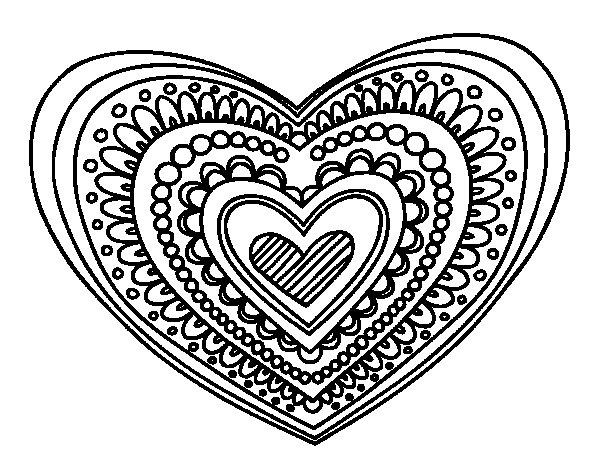 Disegno di Mandala cuore da Colorare