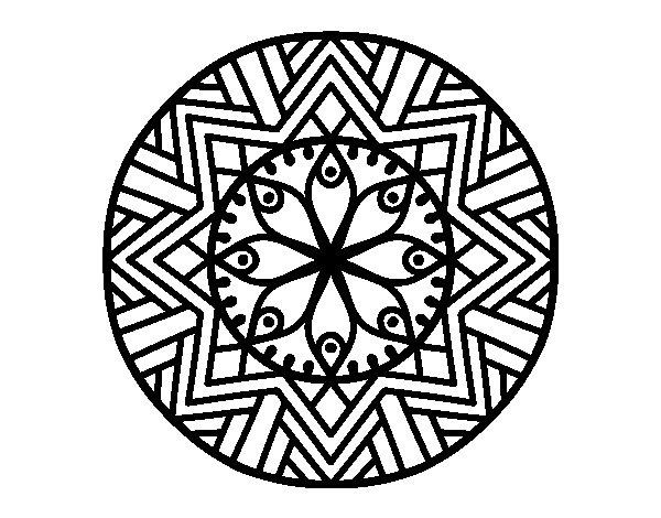 Disegno di Mandala fiore de bambù da Colorare