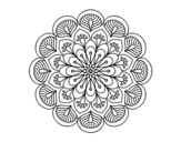Disegno di Mandala fiore e fogli da colorare