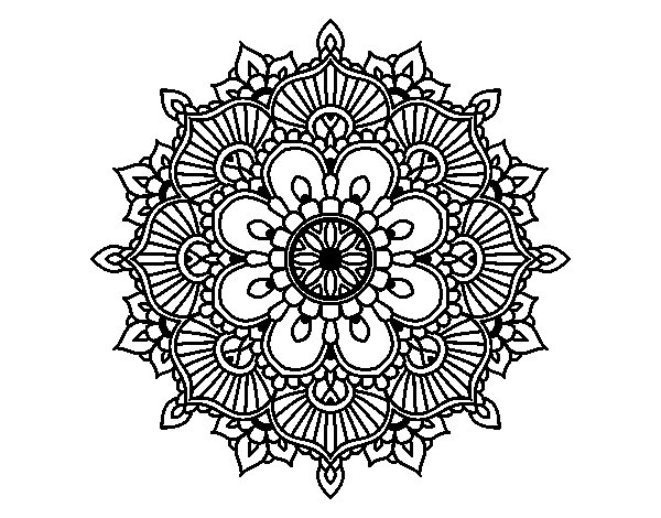 Disegno di mandala flash florale da colorare for Disegni di flash