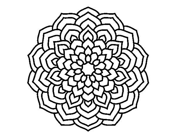 Disegno di mandala petali di fiori da colorare for Disegni di mandala semplici