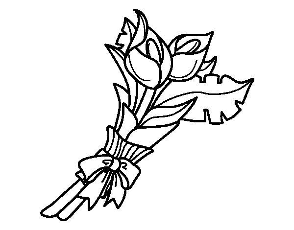 Disegno Di Rosa Con Foglie Da Colorare Acolore Com: Disegno Di Mazzo Di Calla Da Colorare