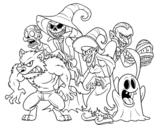 Disegno di Monstri di Halloween da colorare